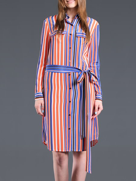 Multicolor Stripes Long Sleeve Shirt Collar Shirt Dress with Belt