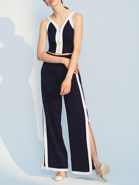 Black Zipper Slit Spaghetti Two Piece Jumpsuit