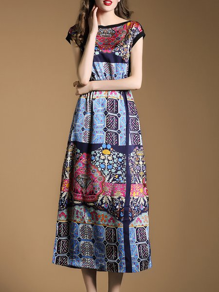 Multicolor Printed Satin Casual Tribal Midi Dress