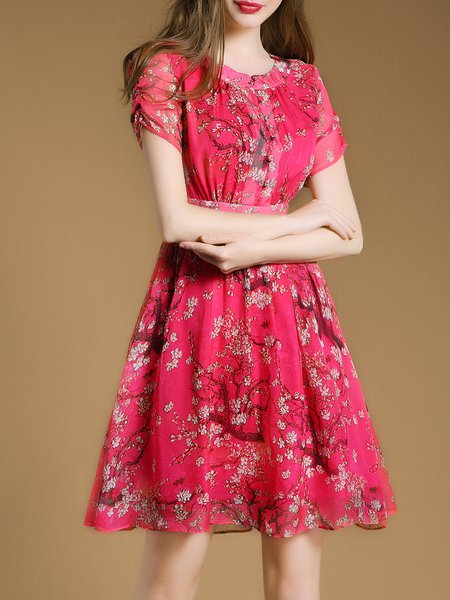 Fuchsia Floral-print Elegant A-line Mini Dress with Belt