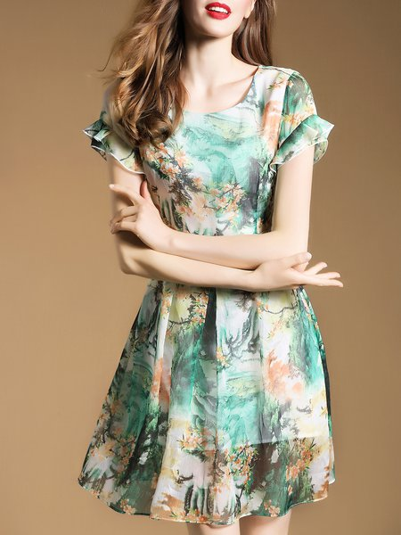 Green Frill Sleeve Printed Mini Dress