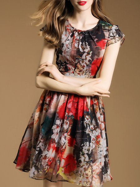 Multicolor A-line Vintage Mini Dress