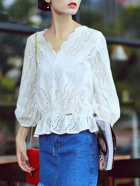 White V Neck 3/4 Sleeve Simple Plain Blouse