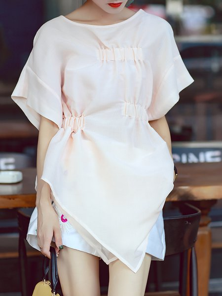 Apricot Asymmetric Short Sleeve Blouse