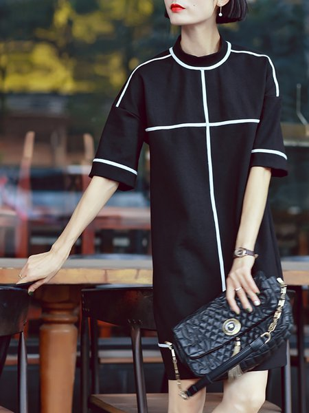 Black Short Sleeve Plain Paneled A-line Mini Dress