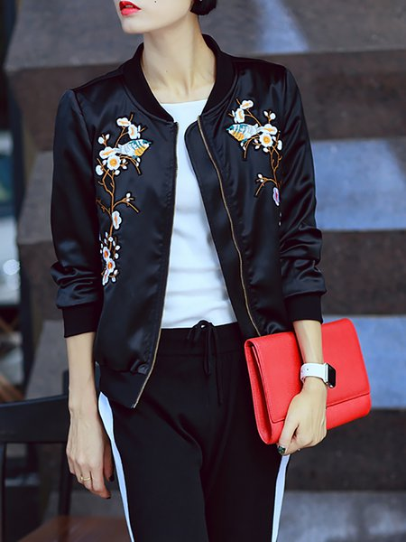 Black Plain Floral Embroidered Bomber Jacket