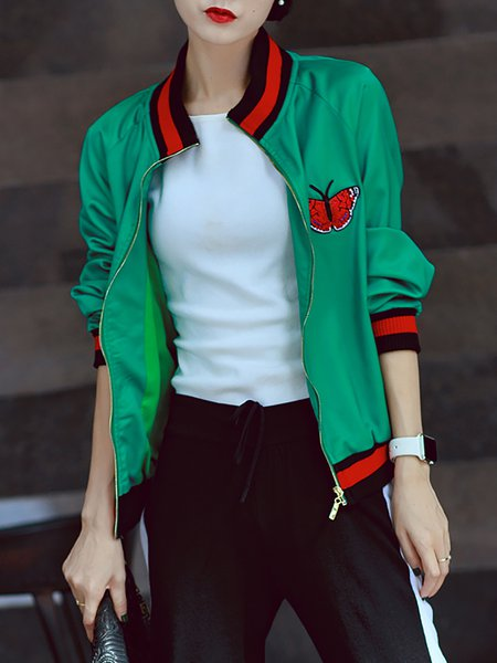 Green Embroidered Long Sleeve Bomber Jacket