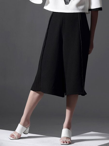 Black Ribbed Summer Casual Wide Leg Pants