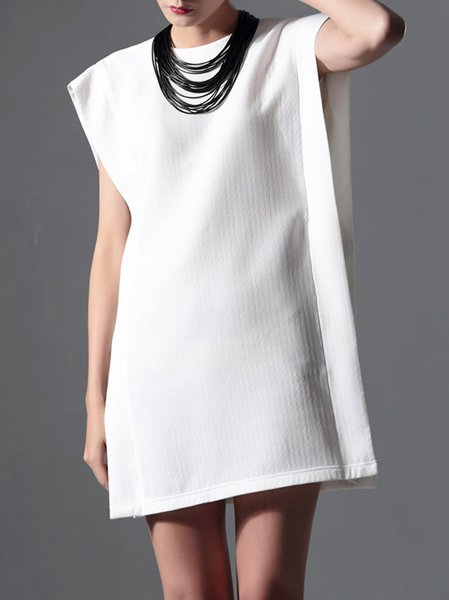 White Sleeveless H-line Summer Simple Mini Dress