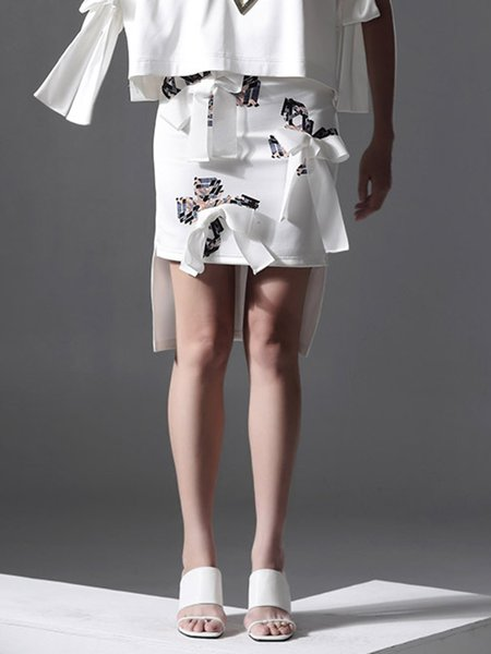 White Statement Bow Mini Skirt