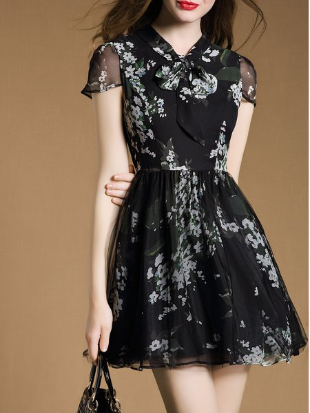 Floral Stand Collar Frill Sleeve Elegant A-line Mini Dress
