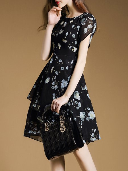 Black Floral-print Tiered Midi Dress