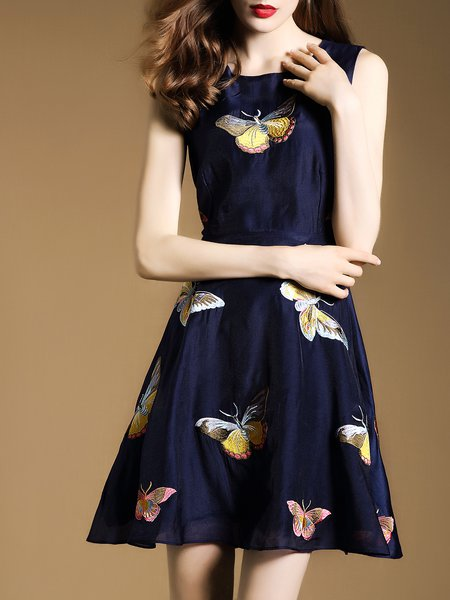 Dark Blue Butterfly Embroidered Sleeveless Mini Dress