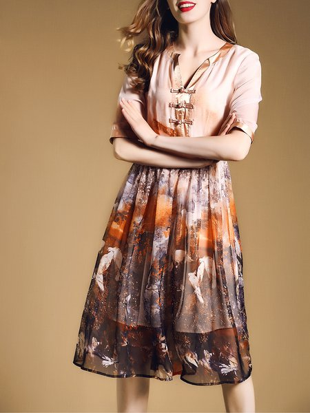 Chiffon Half Sleeve V Neck Vintage Animal Print Midi Dress