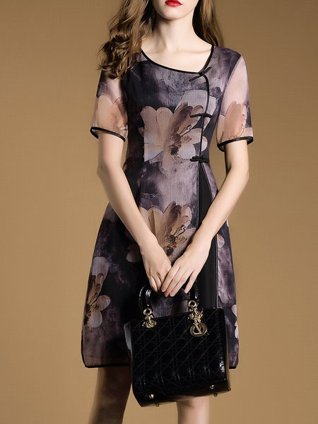 Vintage A-line Printed Short Sleeve Midi Dress