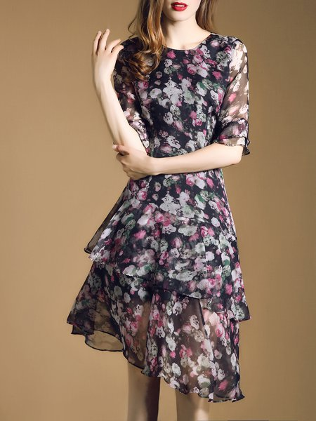 Sweet Crew Neck Frill Sleeve Flounce Floral Midi Dress