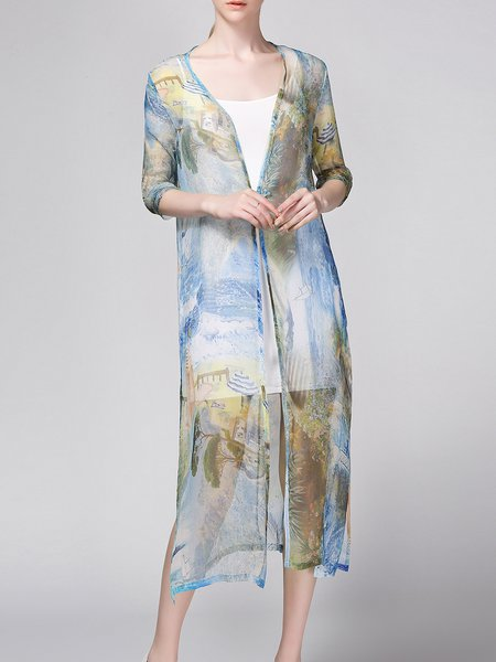 Multicolor Two Piece Silk 3/4 Sleeve Coat