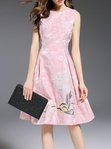 Pink Elegant Jacquard A-line Midi Dress
