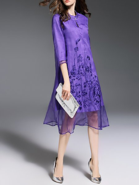 https://www.stylewe.com/product/purple-stand-collar-3-4-sleeve-midi-dress-61110.html