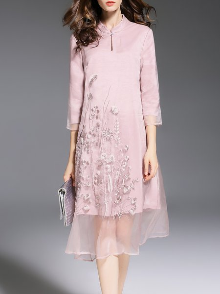 Pink Organza 3/4 Sleeve Embroidered Midi Dress
