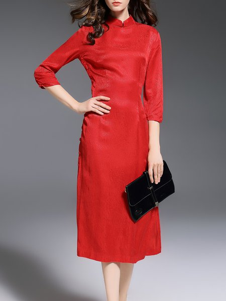 Red Cupro Vintage H-line 3/4 Sleeve Midi Dress