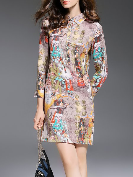 Multicolor H-line Shirt Collar Linen 3/4 Sleeve Mini Dress