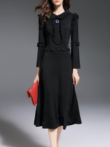 Black Ruffled Plain 3/4 Sleeve Peter Pan Collar Midi Dress