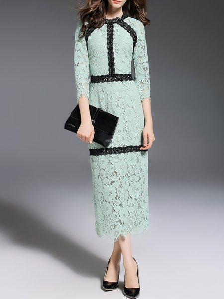 Light Green 3/4 Sleeve Lace Crew Neck Midi Dress