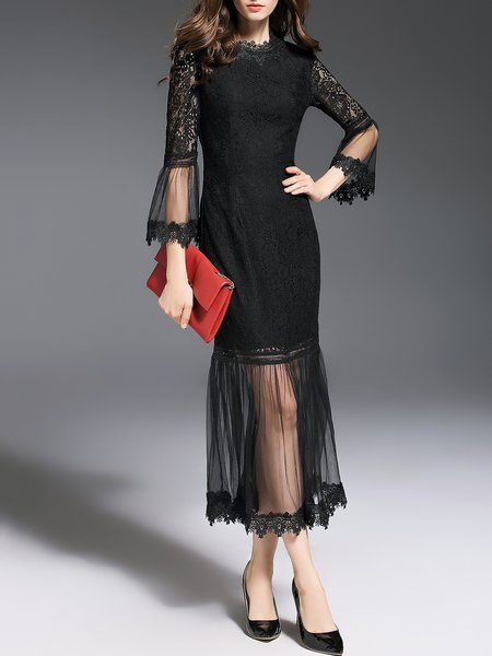 Black Trumpet Sleeve Elegant Mermaid  Midi Dress