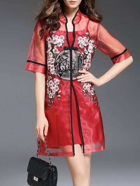 Red Embroidered Vintage Two Piece Coat