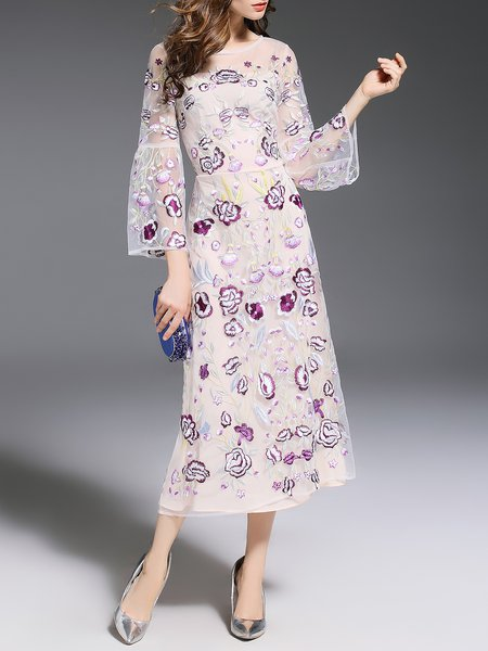 Apricot Elegant Floral Embroidered A-line Midi Dress