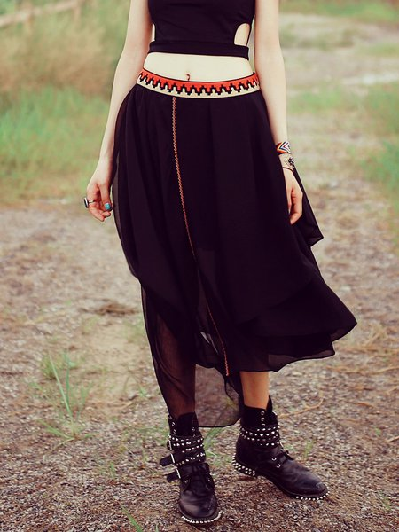 Black Asymmetrical Simple Embroidered Midi Skirt