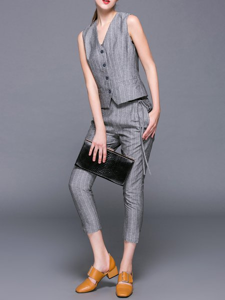 Gray Sleeveless Stripes Two Piece V Neck Jumpsuit