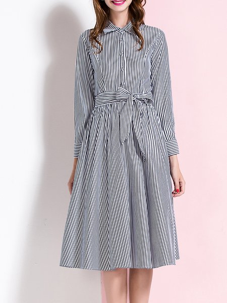 Gray Long Sleeve Stripes Swing Midi Dress with Belt