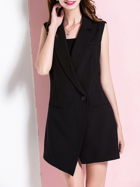 Black Sleeveless Buttoned Plain Lapel Vests And Gilet