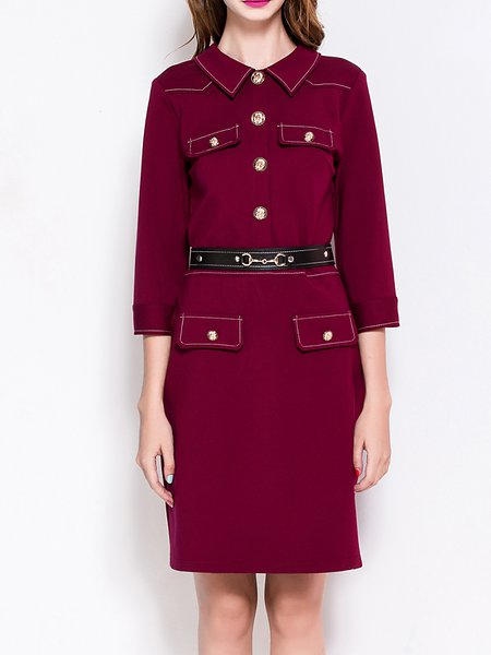 Red 3/4 Sleeve Buttoned Shirt Collar Midi Dress with Belt