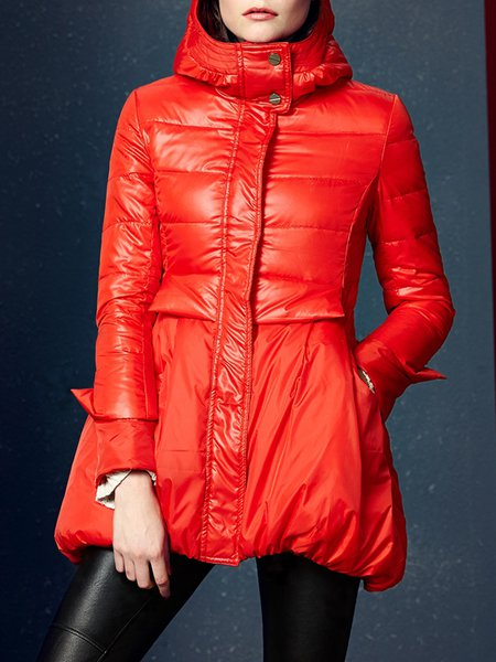 Red Casual Hoodie Pockets A-line Down Coat