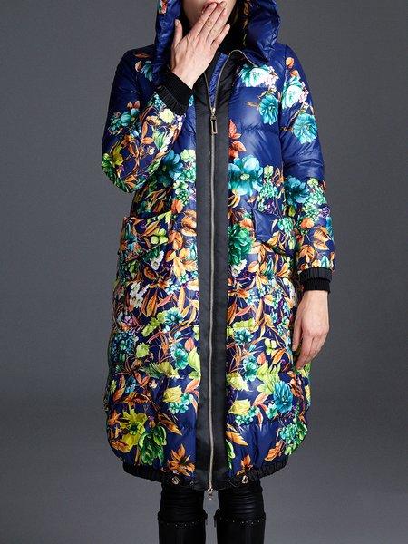 Multicolor Hoodie Printed Long Sleeve Down Coat