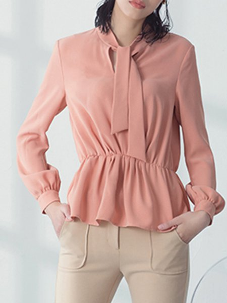 Long Sleeve Polyester Ruffled Plain Simple Blouse