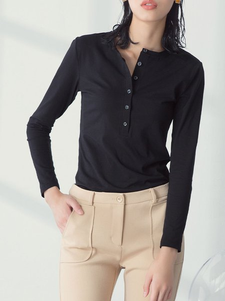 Black V Neck Plain Long Sleeve Blouse