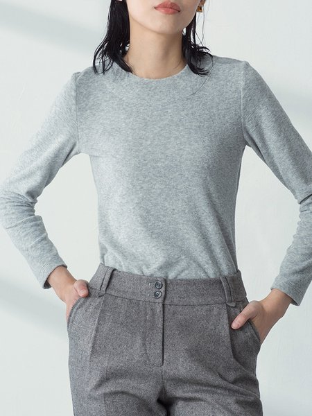 Light Gray Knitted Plain Simple Long Sleeved Top