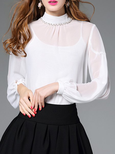 White Long Sleeve Two Piece Plain Blouse