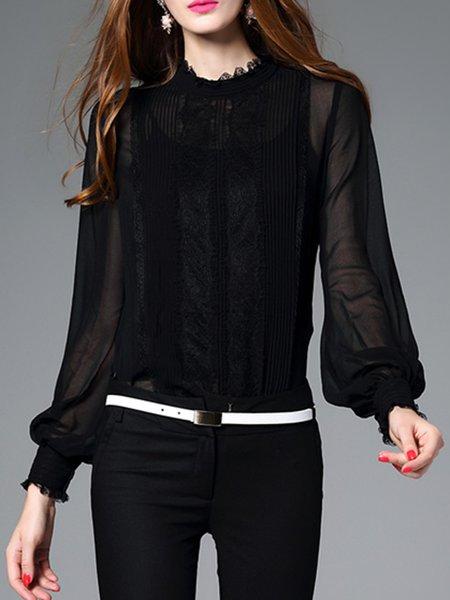 Black Buttoned Georgette Simple Plain Two Piece Blouse