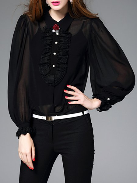 Black Simple Balloon Sleeve Plain Two Piece Blouse