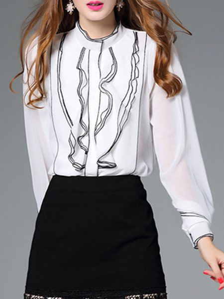 Stand Collar Ruffled Simple Long Sleeve Blouse
