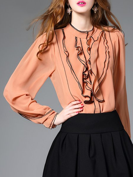 Orange Stand Collar Ruffled Simple Long Sleeve Blouse