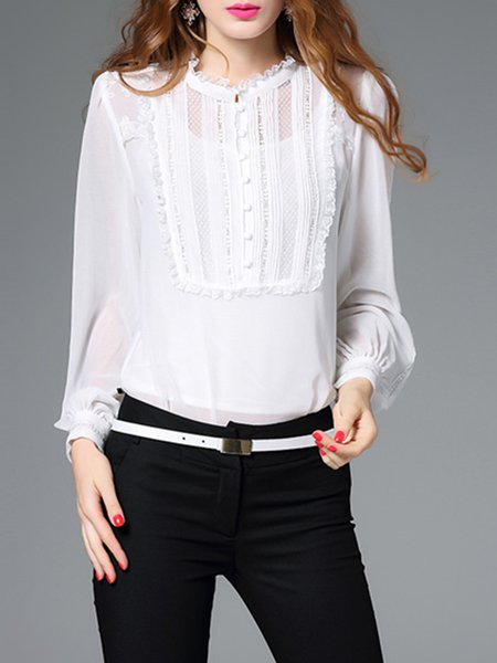 Two Piece Long Sleeve Embroidered Casual Bodysuit Blouse