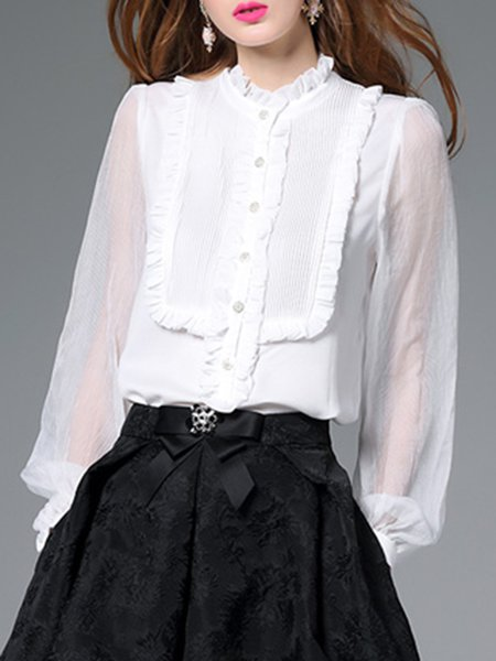Georgette Simple Ruffled Long Sleeve Bodysuit Blouse