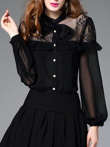 Black Long Sleeve Georgette Simple Ruffled Bodysuit Blouse