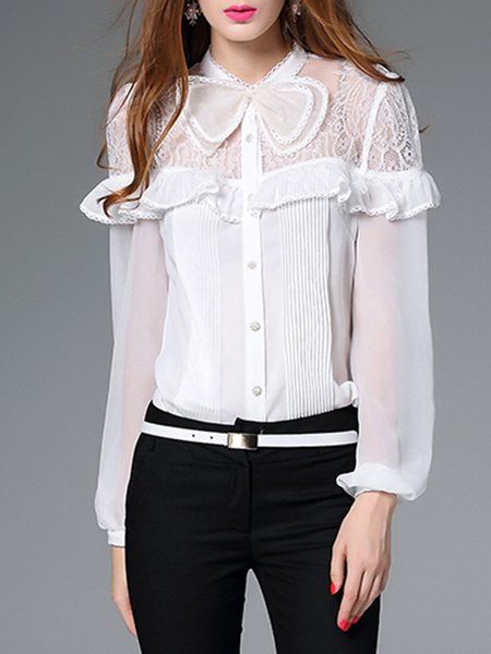 White Plain Georgette Long Sleeve Bodysuit Blouse